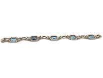 Art Deco Silver & Blue & White Paste Bracelet