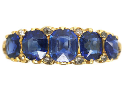 Edwardian 18ct Gold Five Stone Sapphire Carved Half Hoop Ring