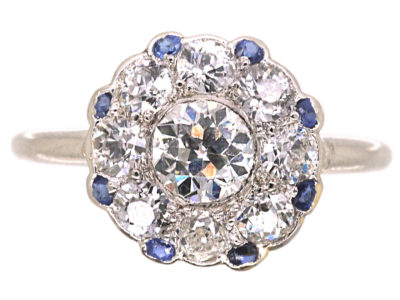 Art Deco Platinum, Diamond & Sapphire Round Cluster Ring