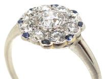 Art Deco Platinum, Diamond & Sapphire Round Cluster Ring