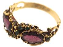 Georgian 15ct Gold, Almandine Garnet & Emerald Crossover Ring