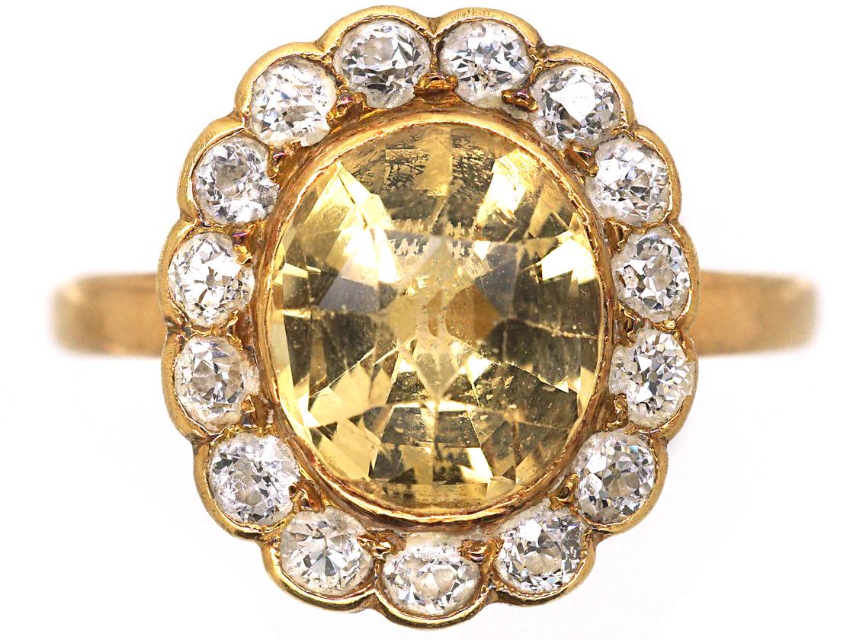 Edwardian 18ct Gold, Topaz & Diamond Oval Cluster Ring
