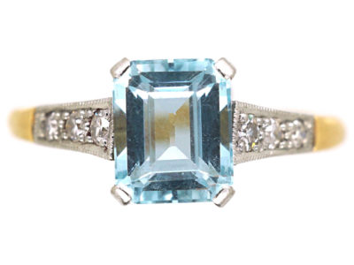 Art Deco 18ct Gold, Rectangular Aquamarine & Diamond Ring