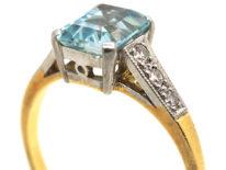Art Deco 18ct Gold, Rectangular Aquamarine & Diamond Ring