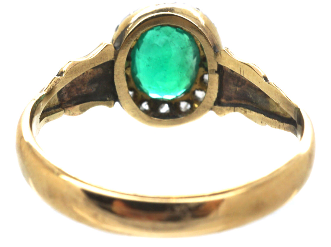 Victorian 18ct Gold, Diamond & Emerald Oval Cluster Ring