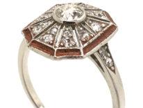 Art Deco Platinum, Enamel & Diamond Octagonal Shaped Ring