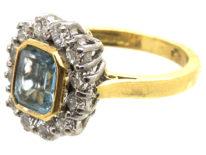 18ct Gold, Octagonal Aquamarine & Diamond Cluster Ring