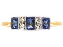 Art Deco 18ct Gold & Platinum, Three Stone French Cut Sapphire & Diamond Ring