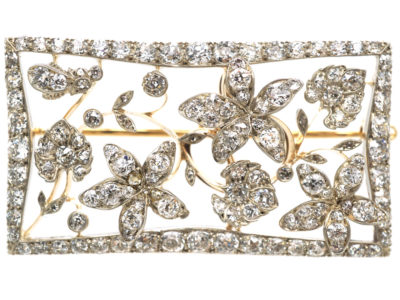 Edwardian Rectangular Shaped Diamond Flower Brooch in Original Case