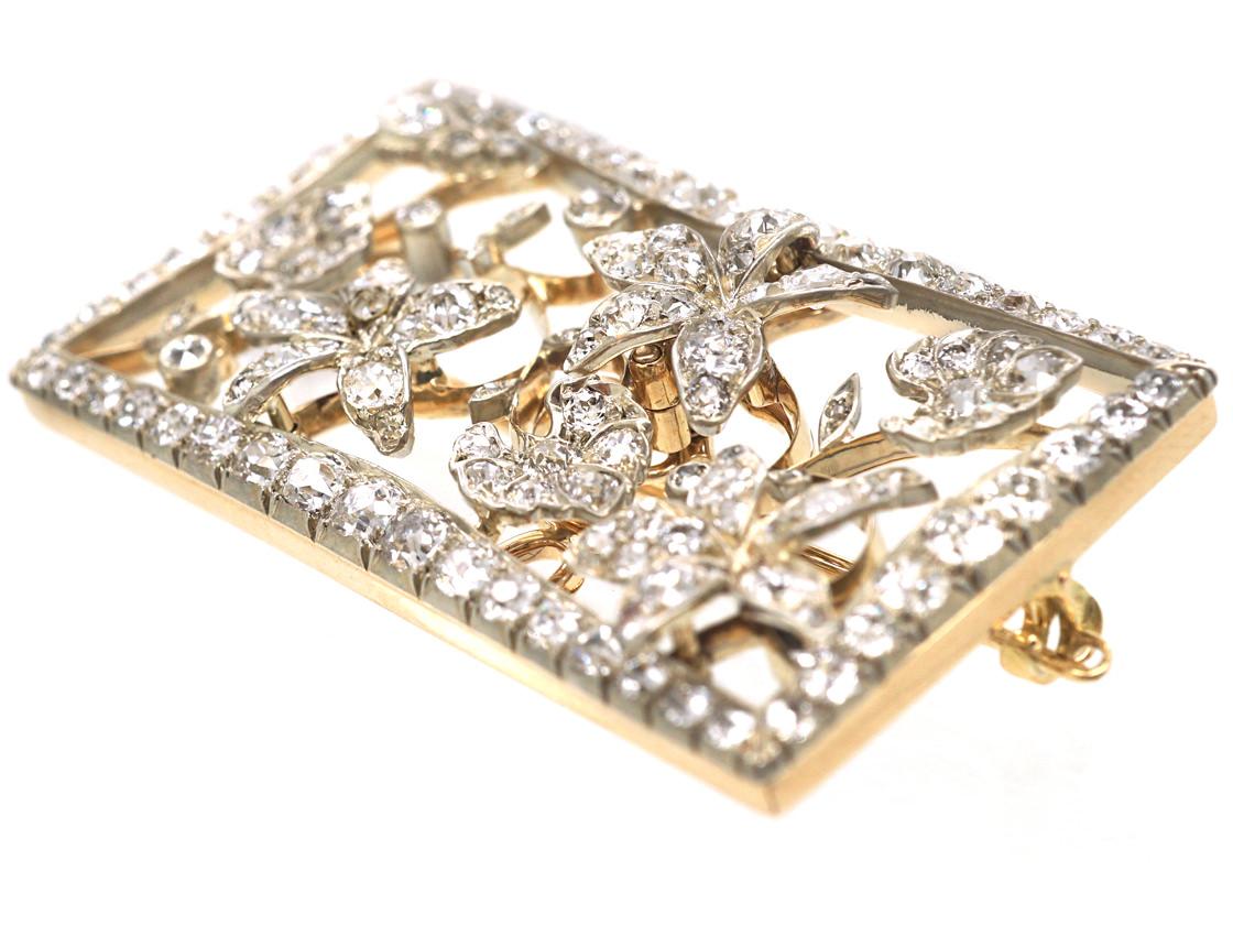 Edwardian Rectangular Shaped Diamond Flower Brooch in Original Case