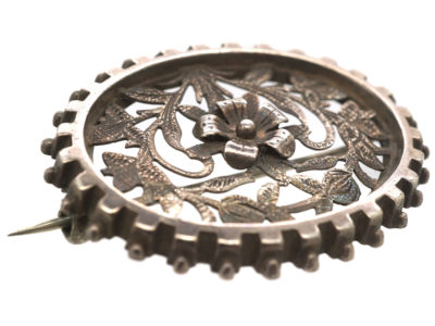 Victorian Oval Silver Brooch with Flower Motif