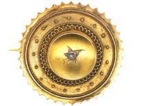 Victorian 15ct Gold Round Brooch set with a Rose Diamond