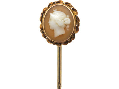 Victorian 15ct Gold & Shell Cameo Tie Pin of a Classical Lady's Head