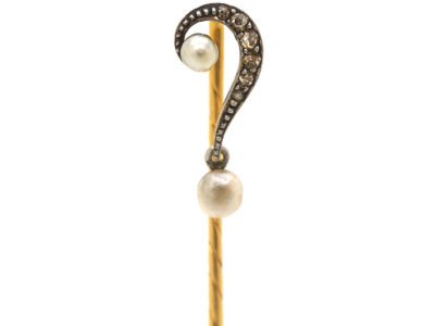 Edwardian 15ct Gold Question Mark Tie Pin set with Diamonds & Natural Pearls