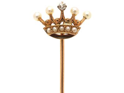 Edwardian 15ct Gold, Diamond & Natural Split Pearl Crown Tie Pin