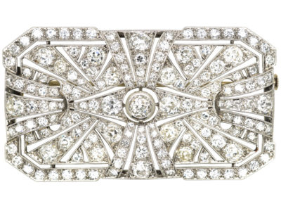 Large Art Deco Platinum & Diamond Rectangular Brooch