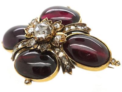 Victorian Cabochon Garnet & Rose Diamond Brooch
