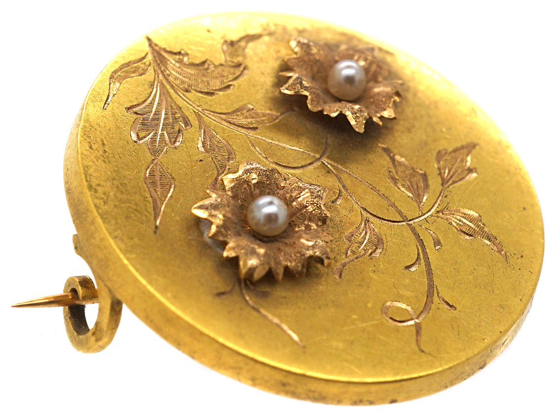 Victorian French 18ct Gold & Natural Pearl Round Brooch with Flowers Motif