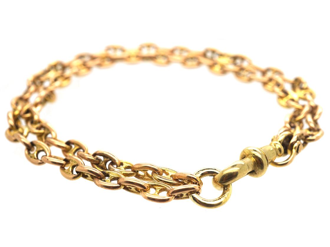 Victorian 15ct Gold Anchor Chain Link Bracelet