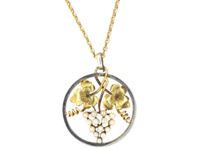 Edwardian 15ct Gold & Platinum Grapes Pendant on 15ct Gold Chain