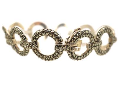 Art Deco Silver & Marcasite Circles Bracelet