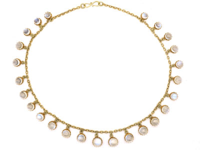 Edwardian 15ct Gold Moonstone Drops Necklace