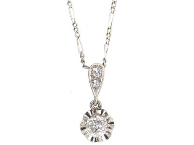 Art Deco Platinum & Diamond Pendant on Platinum Chain
