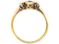 Edwardian 18ct Gold, Two Stone Sapphire & Diamond Ring