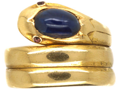Victorian 18ct Gold Snake Ring set with a Cabochon Sapphire