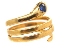 Victorian 18ct Gold Snake Ring set with a Sapphire