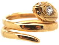 Victorian 18ct Snake Ring set with a Diamond