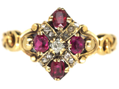French 19th Century 18ct Gold Ruby & Diamond Ring