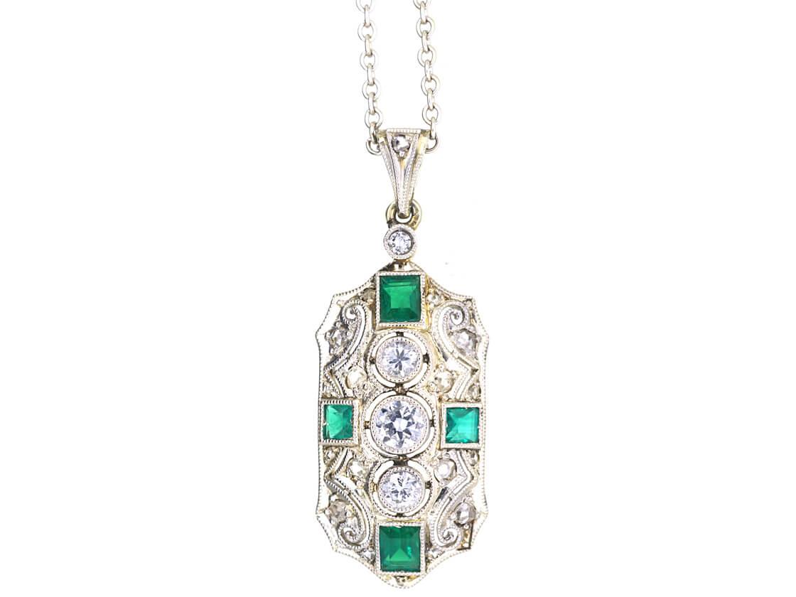 Art Deco 18ct White Gold, Emerald & Diamond Pendant on 14ct White Gold Chain