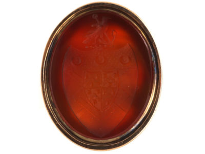 Georgian 9ct Gold Cased & Carnelian Seal with an Intaglio of a Crest