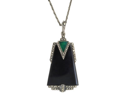 Art Deco Silver, Onyx, Green Chalcedony & Marcasite Pendant on Silver Chain