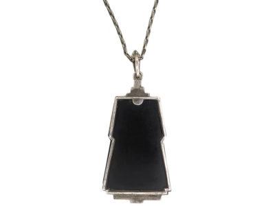 Art Deco Silver, Onyx, Green Chalcedony & Marcasite Pendant on Silver Chain