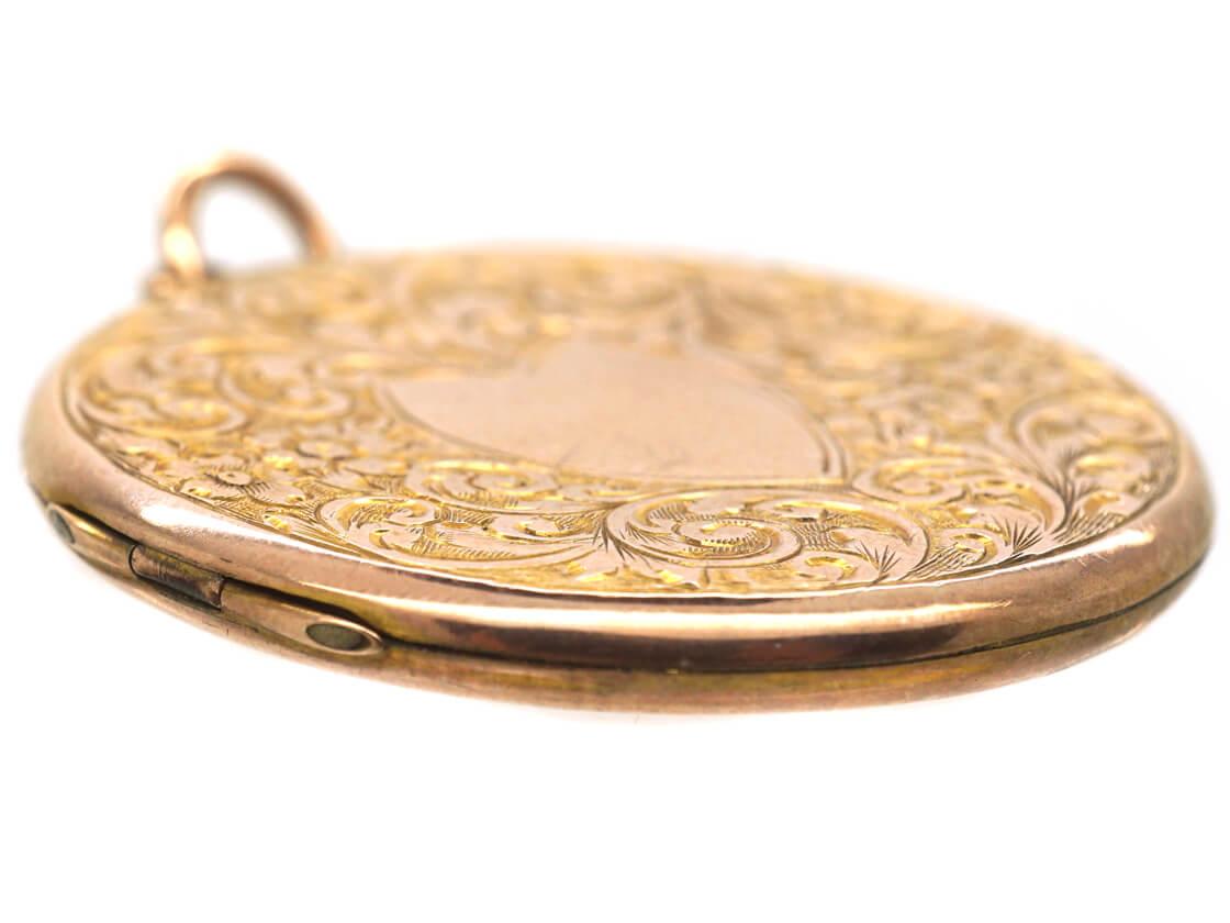 Edwardian 9ct Gold Back & Front Round Locket