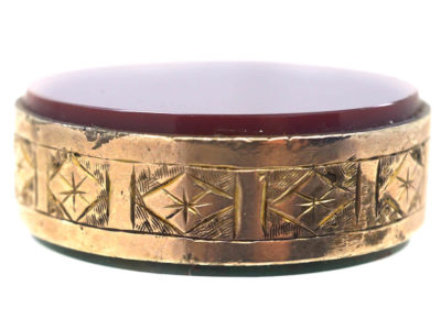 Victorian 9ct Gold Double Sided Seal with Lion on Top & Engraved Detail