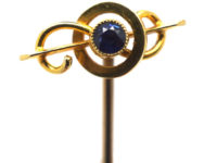 Edwardian 15ct Gold Bar & Circle Tie Pin set with a Sapphire