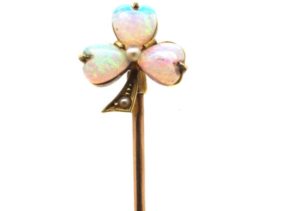 Edwardian 15ct Gold , Opal & Diamond Shamrock Tie Pin