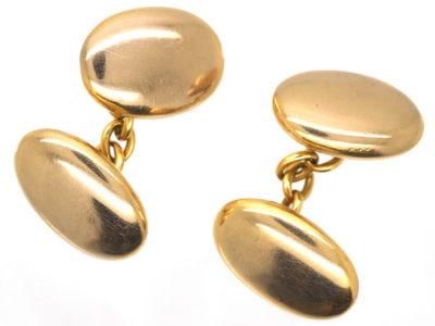 Victorian 18ct Gold Oval Plain Cufflinks