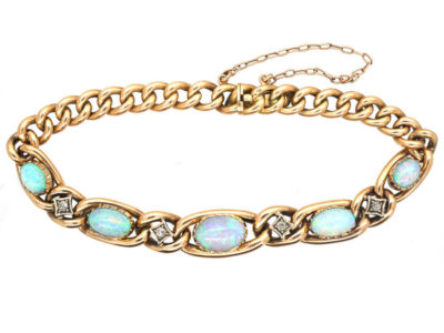 Edwardian 15ct Gold, Opal & Diamond Curb Bracelet