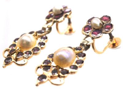 Georgian Flat Cut Almandine Garnet & Natural Pearl Drop Earrings