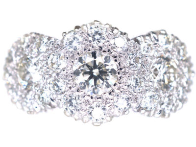 18ct White Gold Triple Cluster Diamond Ring