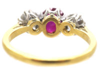 18ct Gold, Three Stone Diamond & Ruby Ring