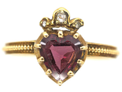 Victorian 18ct Gold Garnet Heart Ring with Diamond Set Crown Top