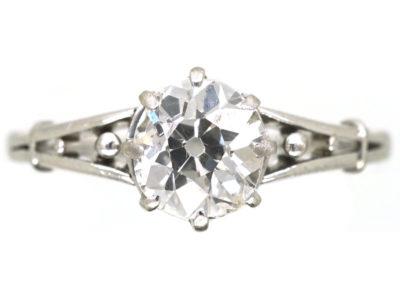 Art Deco Old Mine Cut Diamond Solitaire Ring
