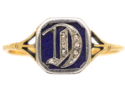 Edwardian 18ct Gold, Platinum, Blue Enamel & Rose Diamond Ring with Initial D