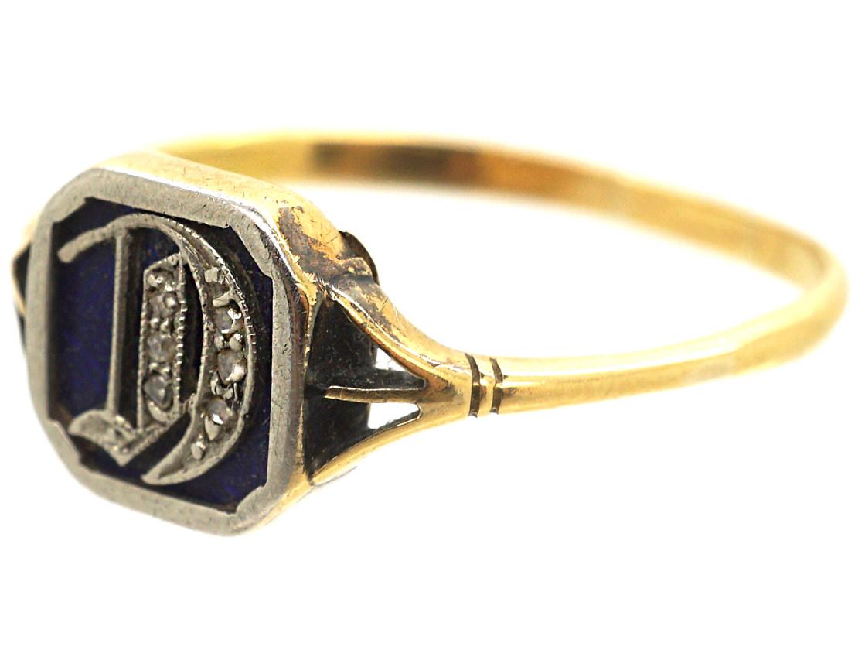 Edwardian 18ct Gold, Platinum, Blue Enamel & Rose Diamond Ring with Initial D