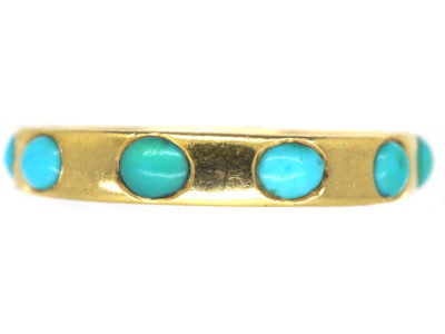 Victorian 18ct Gold & Turquoise Forget Me Not Eternity Ring